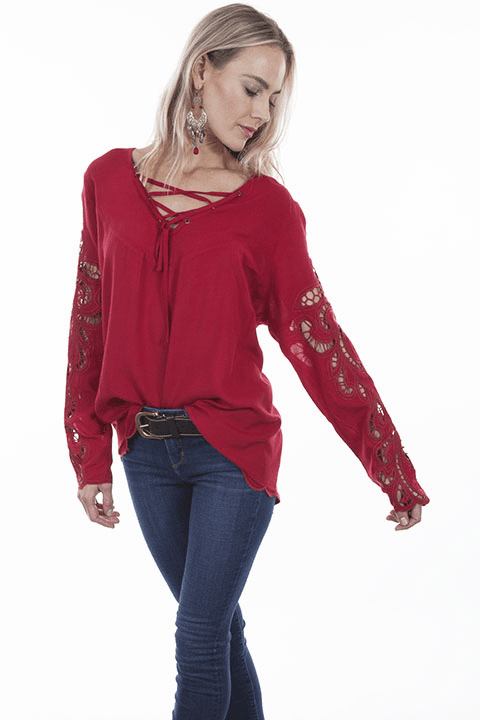 Scully Romantic Cowgirl Blouse Red