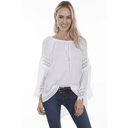 Scully Romantic Crochet Blouse White