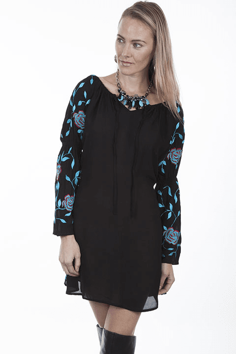 Scully Rose Vine Embroidered Dress - Black