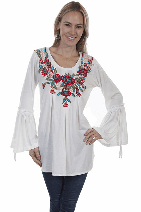 Scully Ruffle Cuff Embroidered Blouse Ivory