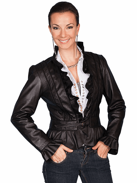 Scully Ruffle Leather Jacket - Black