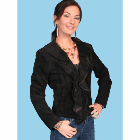 Scully Ruffle Trim Suede Jacket - Black