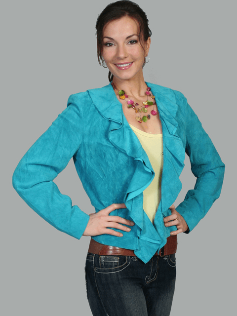 Scully Ruffle Trim Suede Jacket - Turquoise