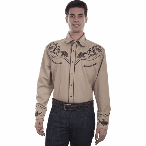 Scully's Men Embroidered Floral Design Western Shirt- Tan
