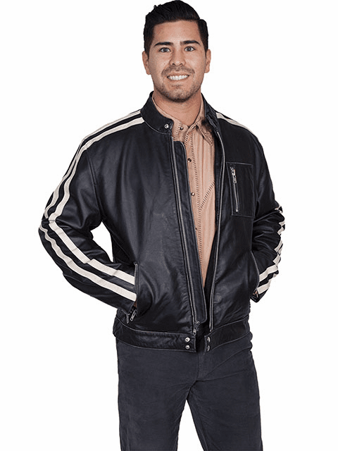 Scully Sanded Calf Racing Jacket Charcoal