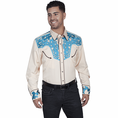 Scully SCROLL TOOLED EMBROIDERY SHIRT Cream/Turq