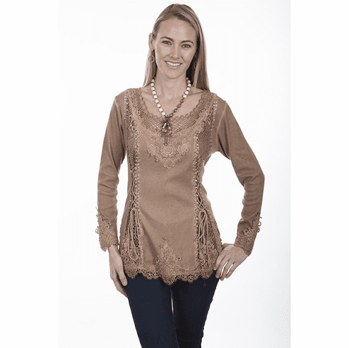 Scully Silky Lace Blouse - BEIGE