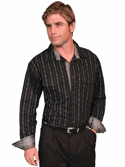Scully Skull Stripe Western Shirt - Black