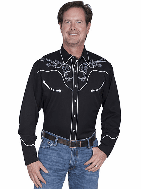 Scully Skulls & Roses Western Shirt Black