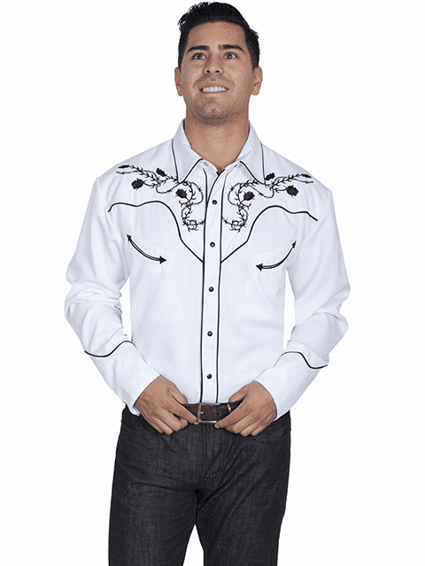 Scully Skulls & Roses Western Shirt White