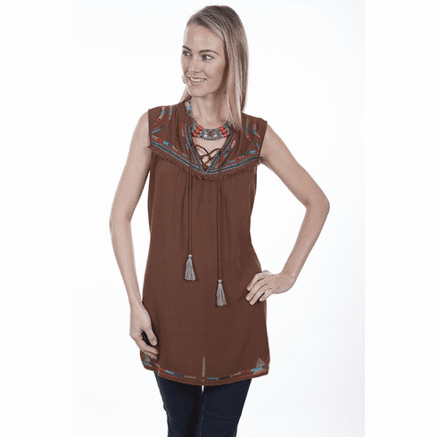 Scully Sleeveless Southwestern Tunic - CINNAMON