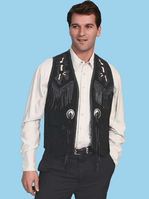 Scully Southwestern Beaded Fringe Vest Black