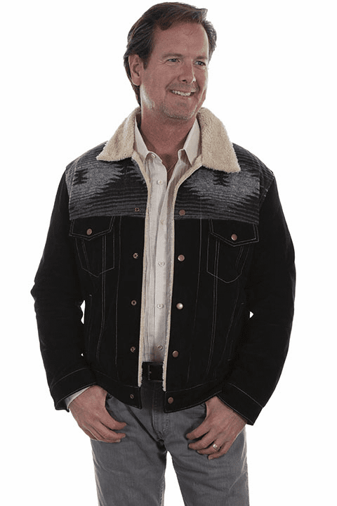 Scully Southwestern Boar suede jean jacket Black