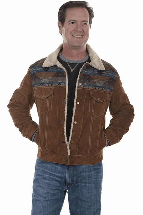 Scully Southwestern Boar suede jean jacket Cafe Brown