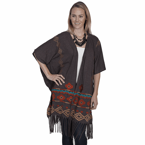 Scully Southwestern Cowgirl Wrap Heather Brown