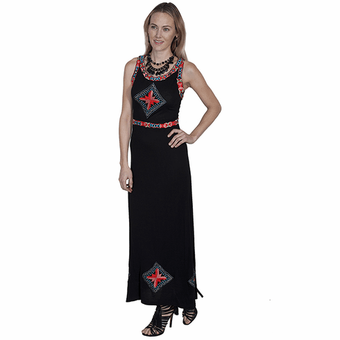 Scully Southwestern Embroidered Long Black Dress