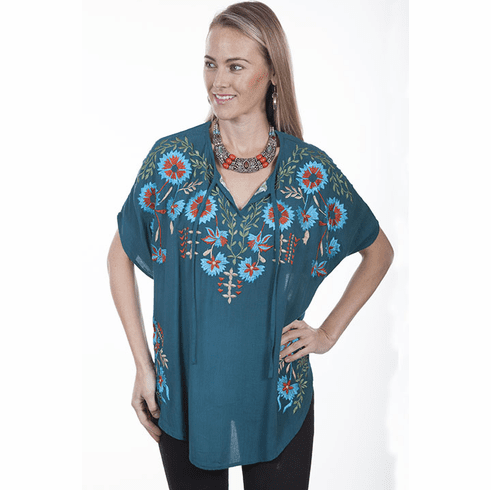 Scully Southwestern Embroidered Poncho Top Teal
