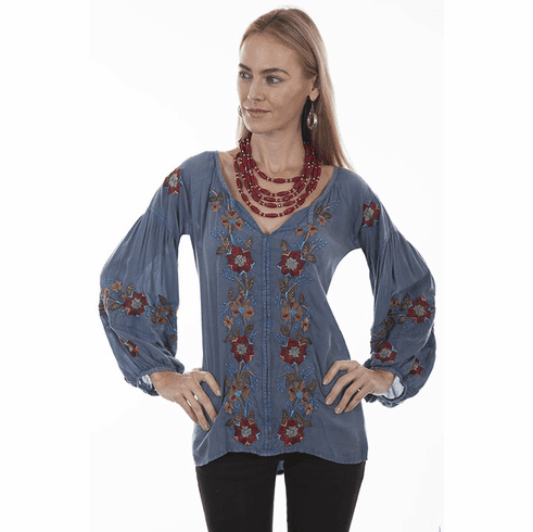Scully Southwestern Flowers Embroidered Tunic Blue