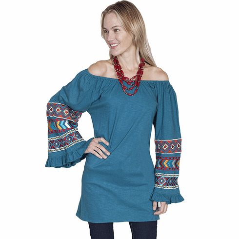 Scully Southwestern Off Shoulder Tunic Teal S-XL