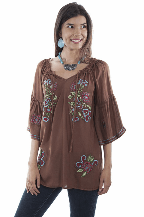 Scully Spanish Style Embroidered Blouse Cinnamon