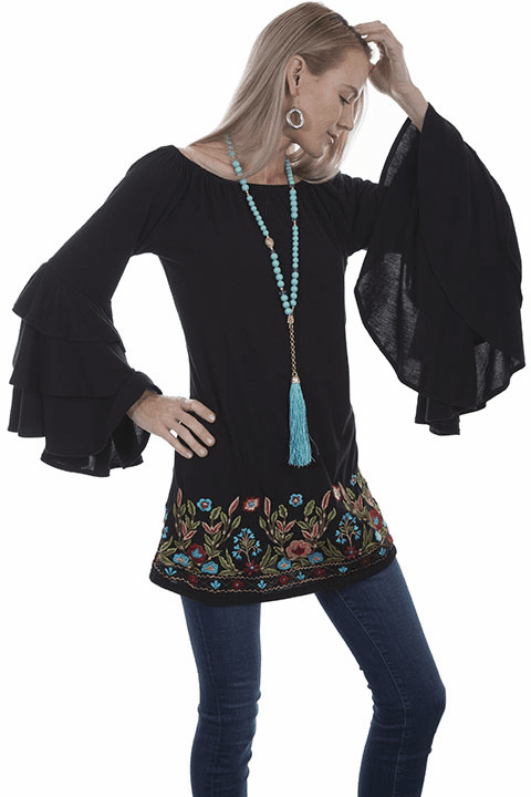 Scully Spanish Style Tunic Blouse Black