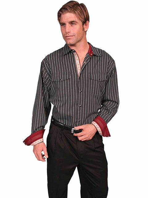 Scully Stripe Western Shirt - Black/White