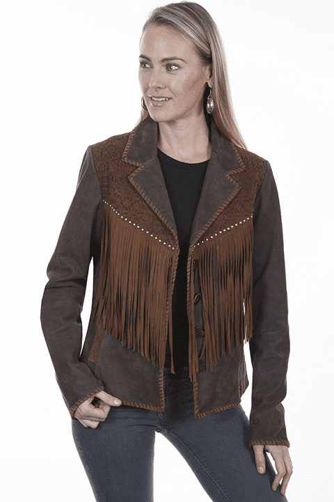 Scully Suede Fringe Jacket Brown