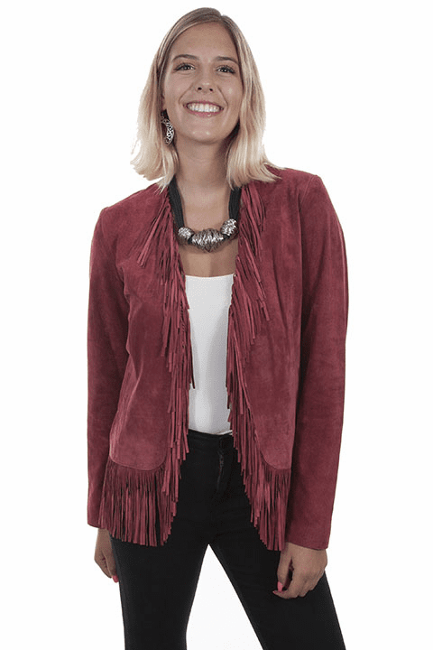 Scully Suede Fringe Jacket Wine