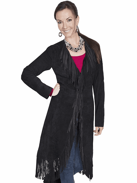 Scully Suede Fringe Maxi Coat Black