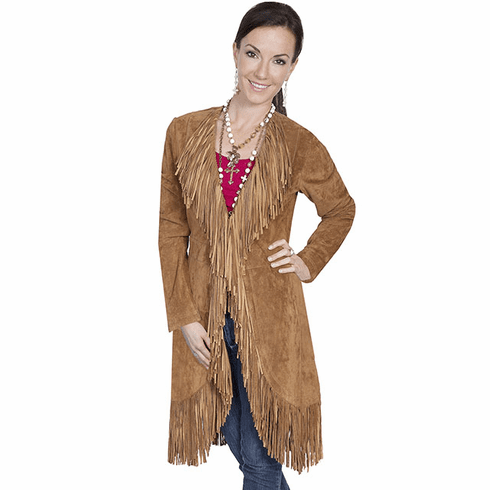 Scully Suede Fringe Maxi Coat Brown
