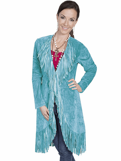 Scully Suede Fringe Maxi Coat Turquoise