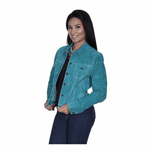 Scully Suede Jean Jacket Style Turquoise S-XXL