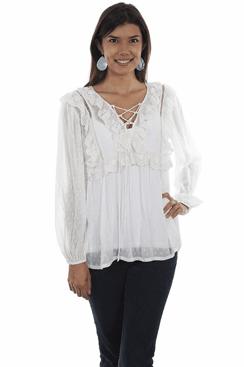 Scully Swiss Dot Blouse White