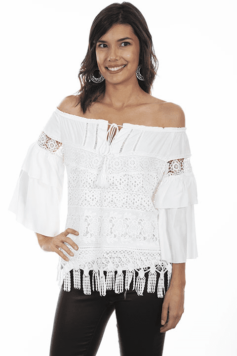 Scully Tiered Lace Blouse White