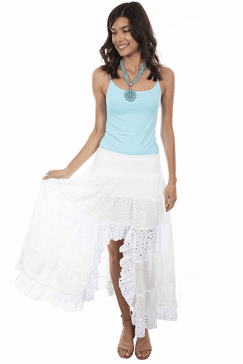 Scully Tiers of Lace and Floral Eyelets Skirt White
