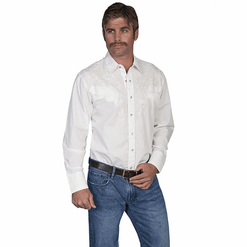Scully Tonal Yokes Embroidery Western Shirt - White