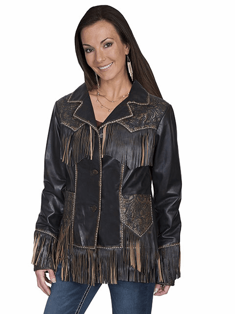 Scully Tooled Fringe Leather Western Jacket Brown