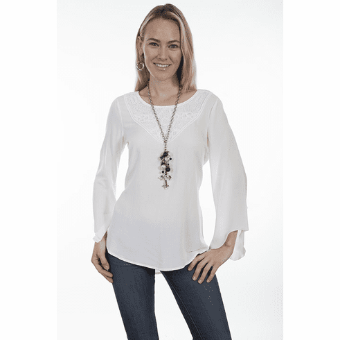 Scully Tunic with Antique Crochet - Ivory