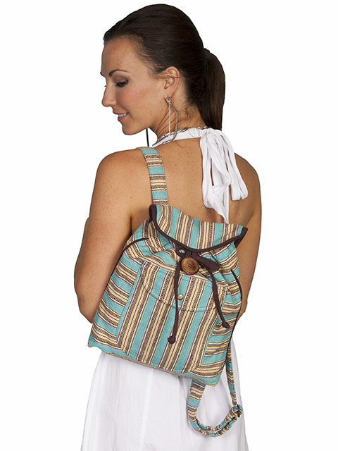 Scully Turquoise Stripe Cowgirl Backpack