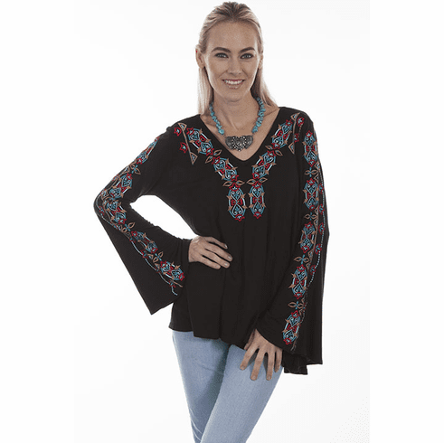 Scully V Neck Southwestern Top Black