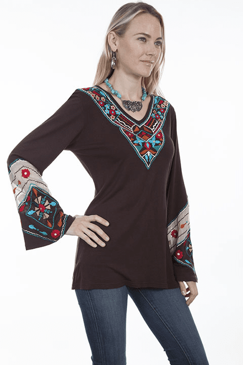 Scully V Neck Tunic Top - Chocolate S-2XL