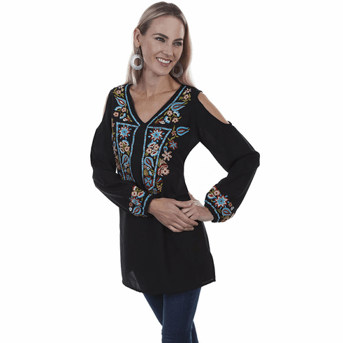 Scully Vibrant Colored Embroidery Top Black