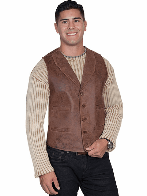 Scully Vintage Lamb Vest Brown