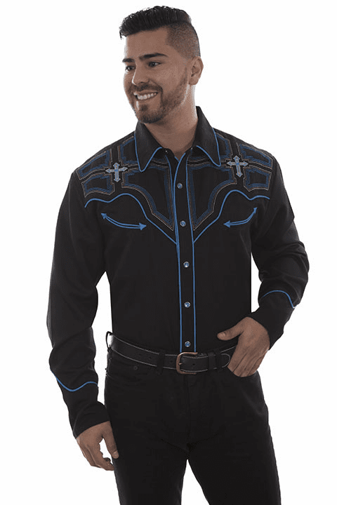 Scully Western Cross Men's Shirt Black/Blue