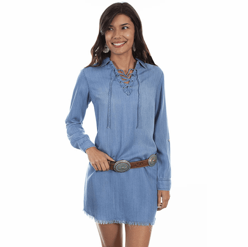 Scully Western Denim Criss Cross Tie Neck Dress