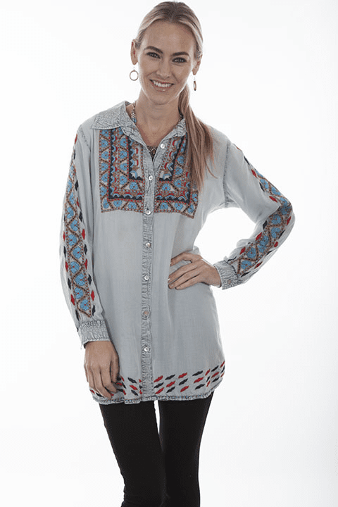 Scully Western Floral Embroidery Button Top