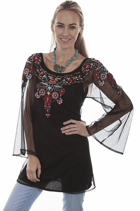 Scully Western Flower Embroidered Blouse Black
