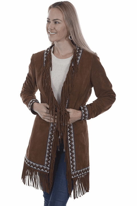 Scully Western Fringe Suede Coat Cinnamon