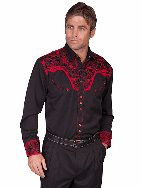 Scully Western Gunfighter Shirt Black