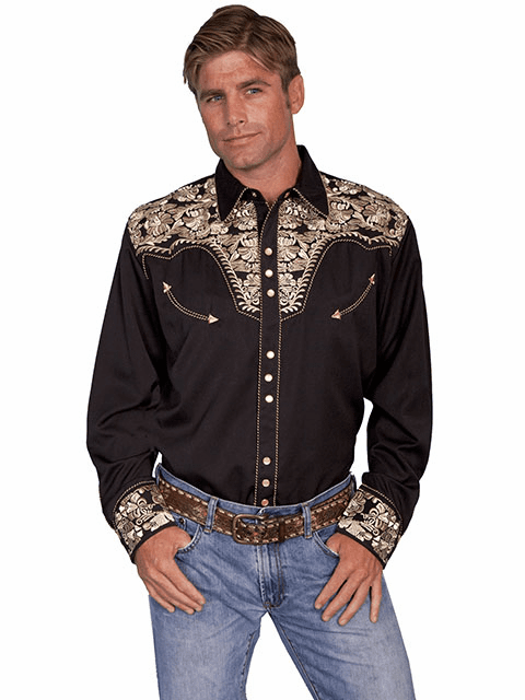 Scully Western Gunfighter Shirt Black/Gold